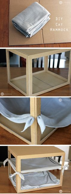 28. DIY CAT HAMMOCK AND BED