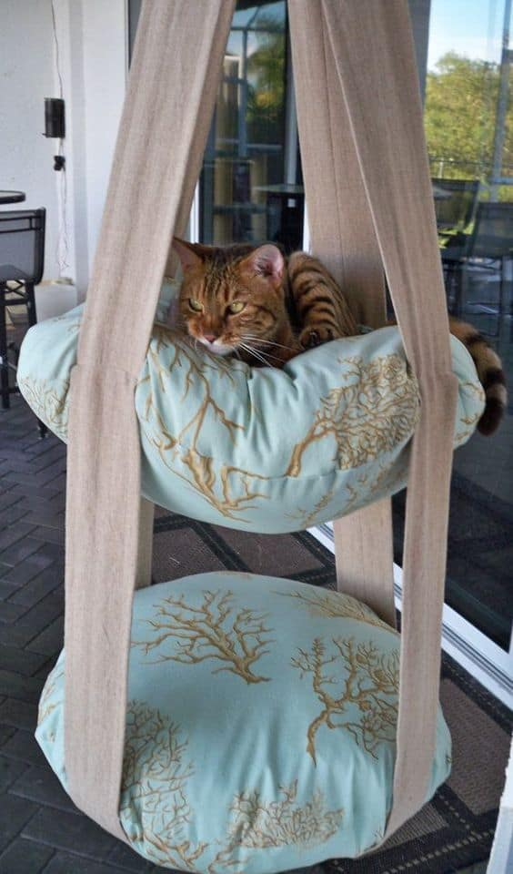 1. EPIC TWO LEVEL CORAL HANGING CAT BED