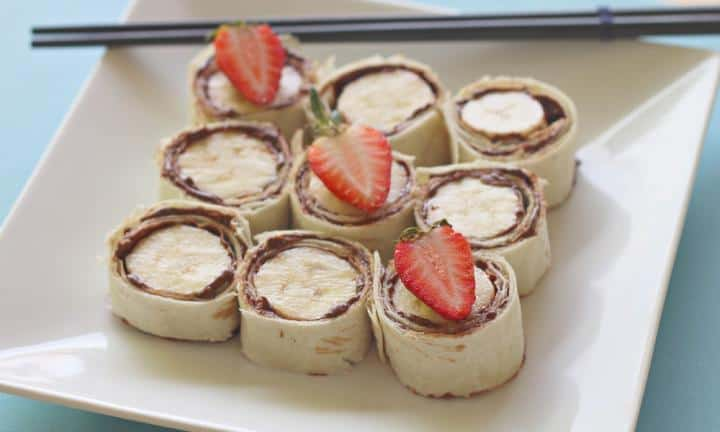 73. NUTELLA AND BANANA SUSHI ROLLS