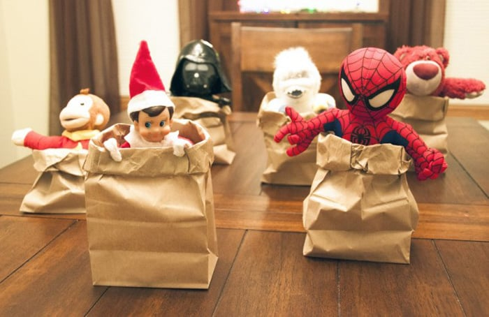 129. Elfie and his buddies enjoy a Sack Race