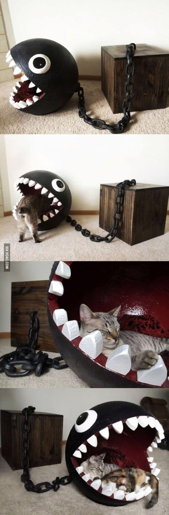 17.  EPIC WRECKING BALL INSPIRED DIY CAT BED