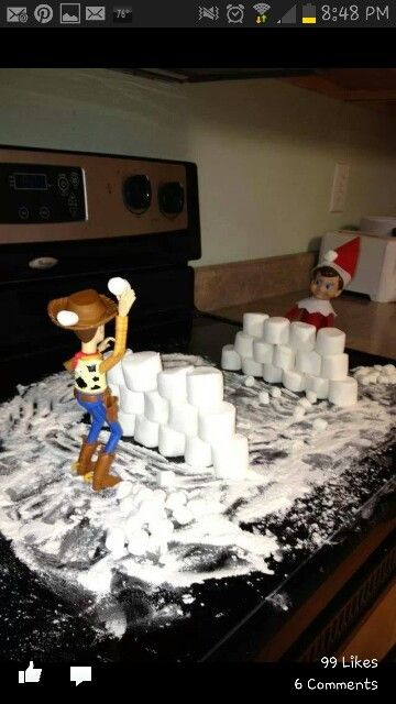 125.Elfie and Woody have a Snowball Fight