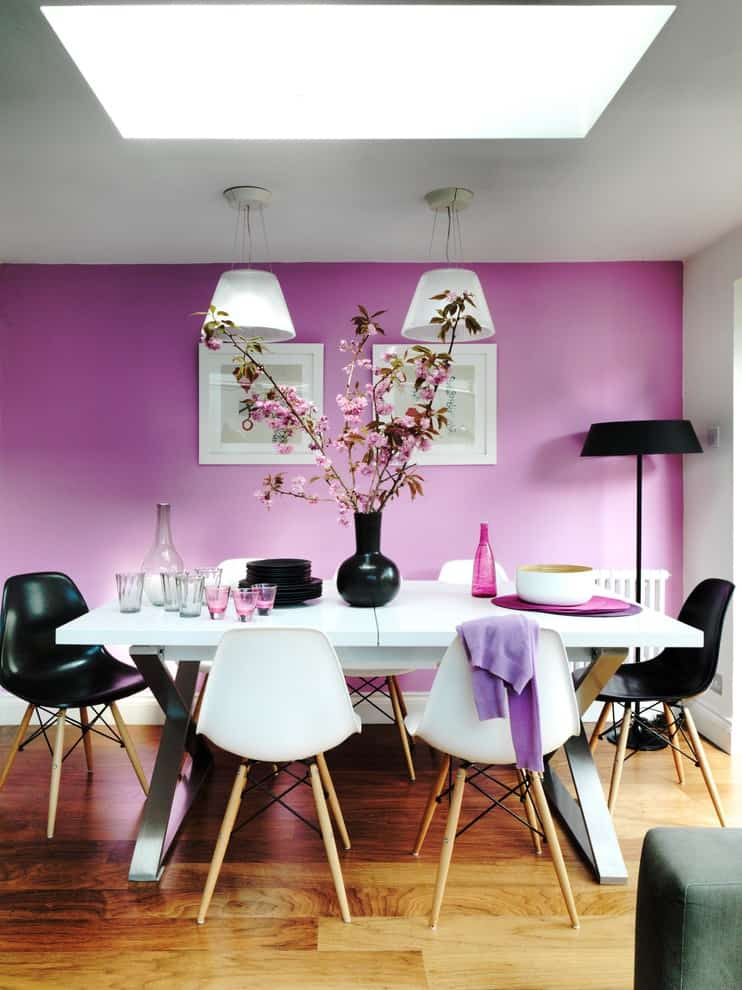 Dining wall design dining room contemporary with pink wall wood flooring pink wall 7
