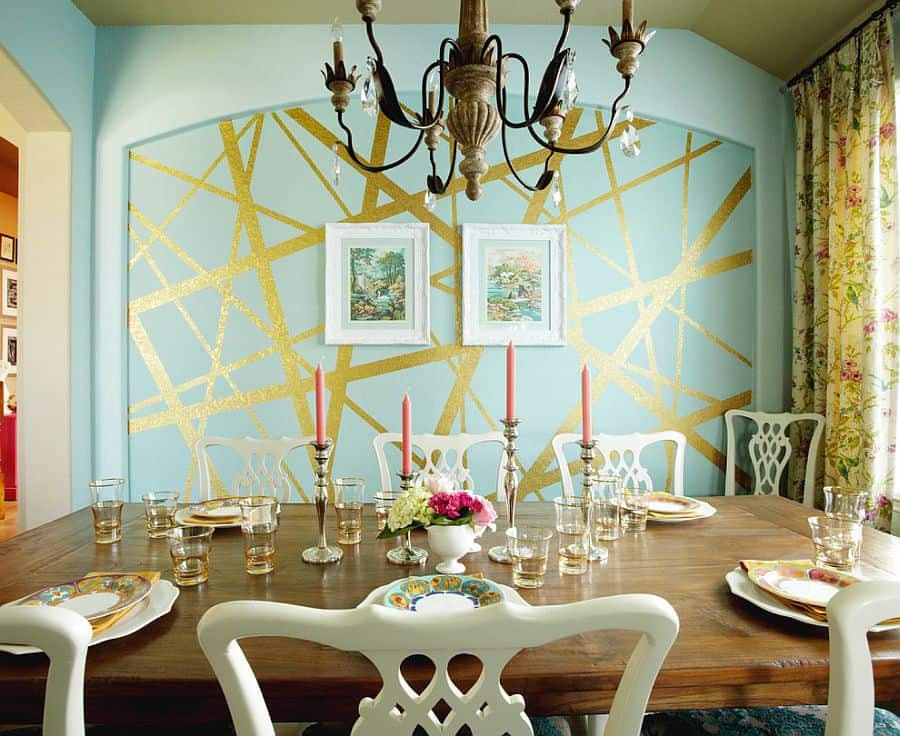 Eclectic dining room with unique striped accent wall