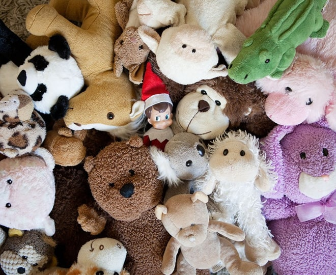 112. Elfie hides in a Pile of Stuffed Animals
