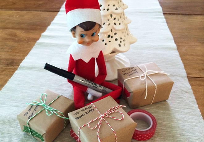 68. Elfie Wrapping Christmas Presents