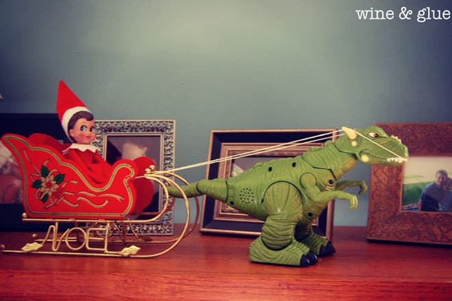 57. Elfie and his T-Rex Sled