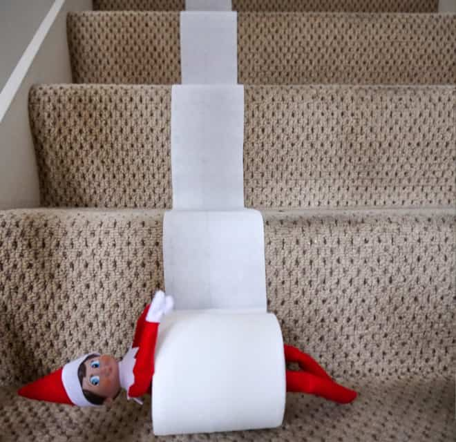 48. Staircase + Elfie + Toilet Paper Roll = Whole Lotta Fun!