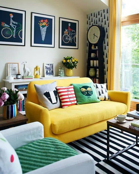 Simple Inspiration on How To Style Around A Yellow Sofa ...