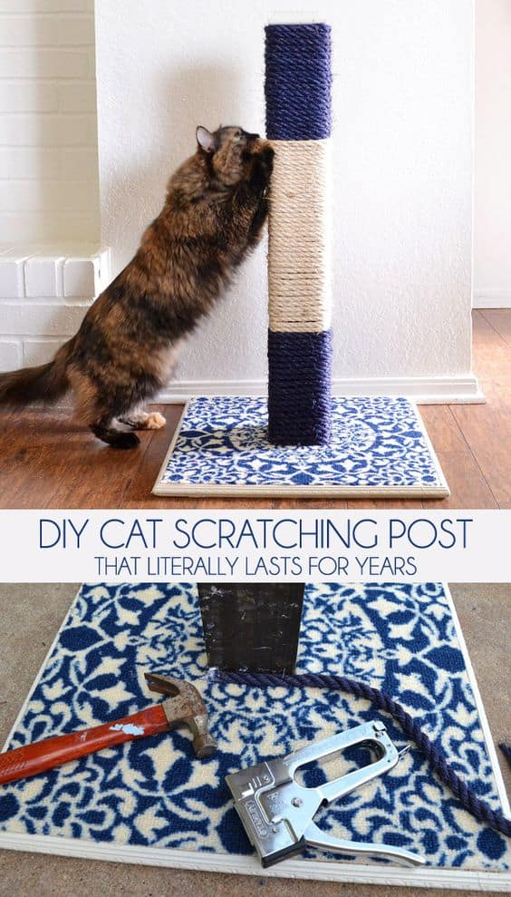 15. ROPE DIY CAT SCRATCHING POST