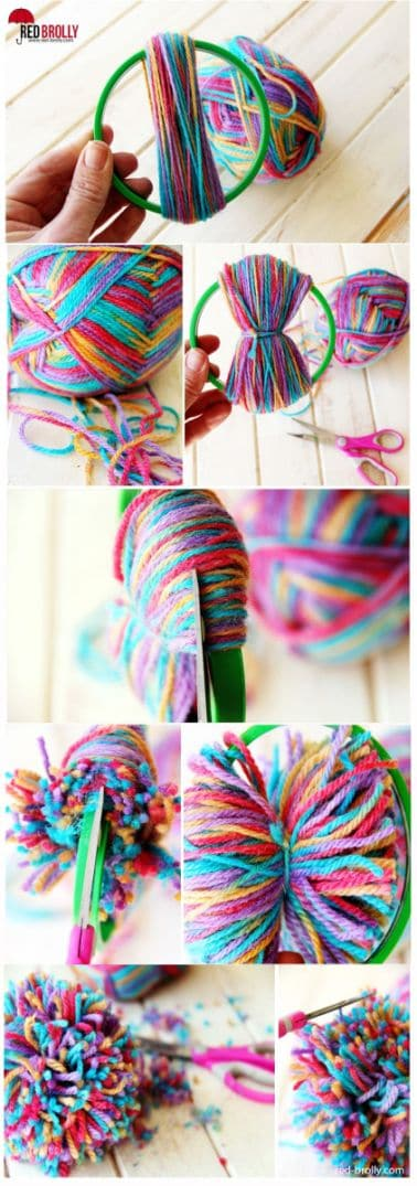 31. USE A SIMPLE HOOP TO REALIZE POM POMS