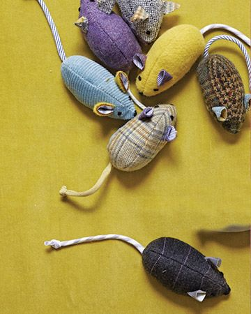 13. SALVAGED DIY CAT MOUSE TOYS