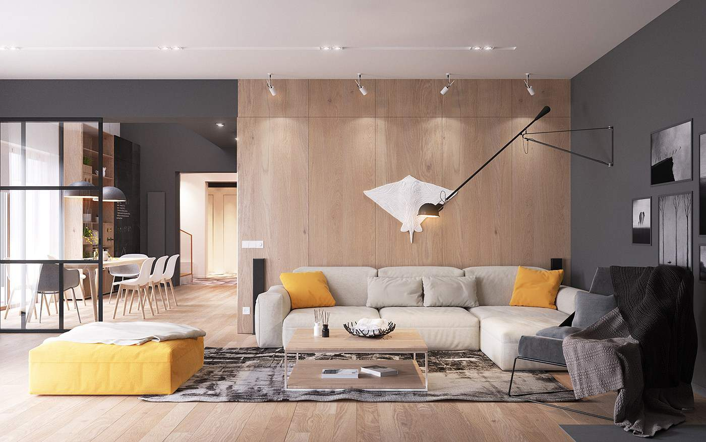 yellow accents in unique scandinavian inspired home