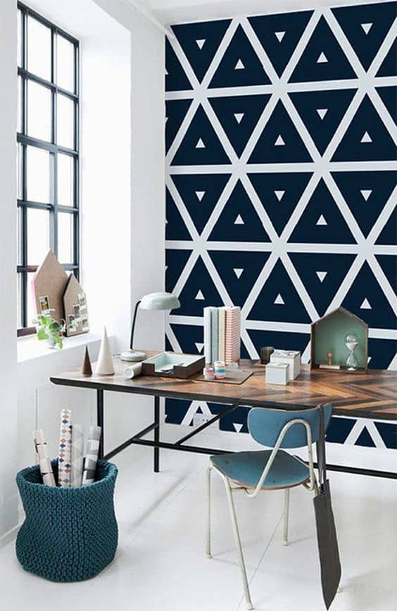 04 a Scandinavian home office with a geometric black wall that will make it eye catchy and interesting