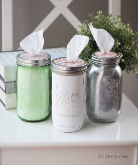 Cute Put your tissues in a mason jar and keep them neat and clean wherever you take them in the house