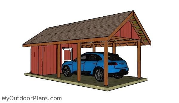 GABLE CARPORT WITH STORAGE PLAN
