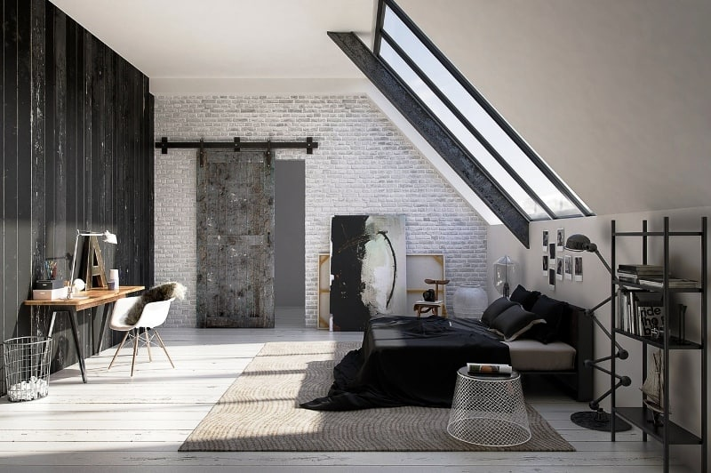 Appealing Black White Attic Home Decor with Brick Wall