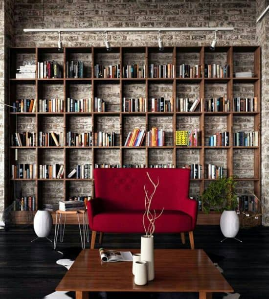 Jaw dropping wooden shelving home library ideas with concrete wall and red sofa