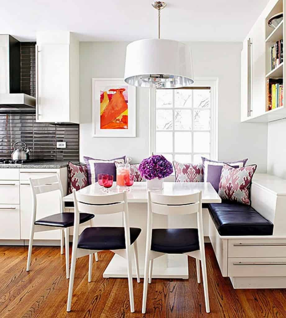 White Drum Shaped Pendant Lamps with Mahogany Floor for Elegant Breakfast Nook Decorating Ideas Combined with Stylish Kitchen Design