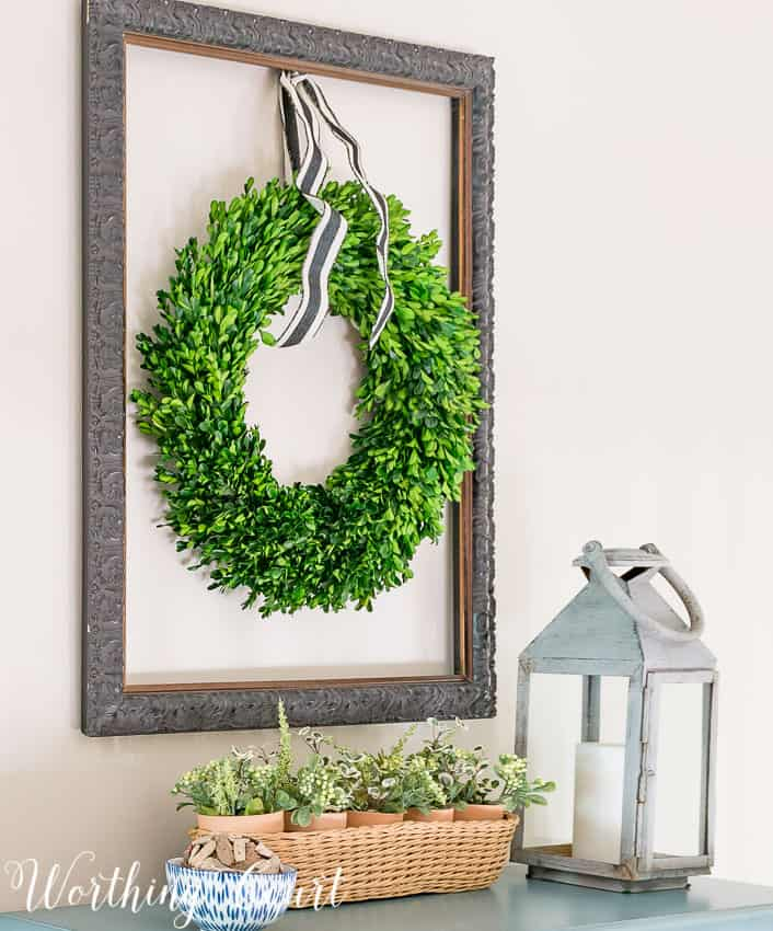 hang a wreath from the inside of an old frame