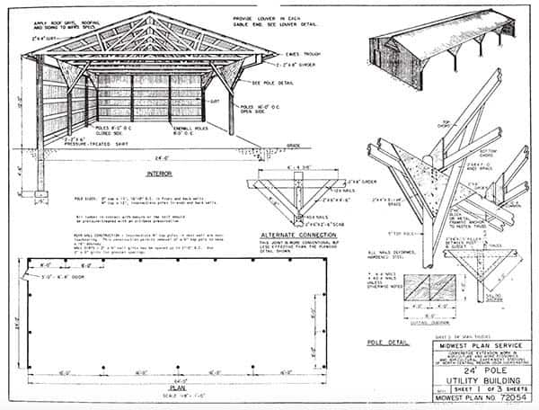 163 free pole shed pole barn building plans and designs for Free pole barn plans with material list