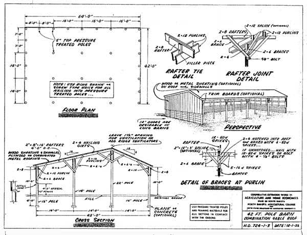 THE NORTH DAKOTA POLE BARN PLANS 86-92