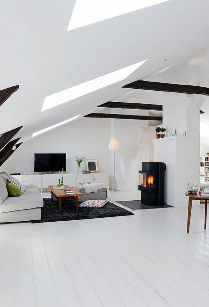 Interior Large Attic Bedroom Ideas White Interior With Living Room And Simple Sloping Also Black White Furniture Interior Design Stunning Sloping Wood Roof Attic Bedroom Design Homesthetics Inspiring Ideas For Your Home