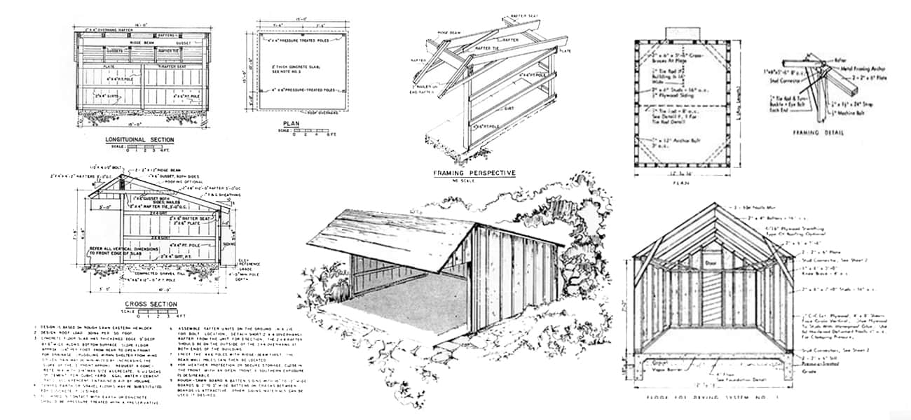 163 free pole shed pole barn building plans and designs for Pole barn material list free