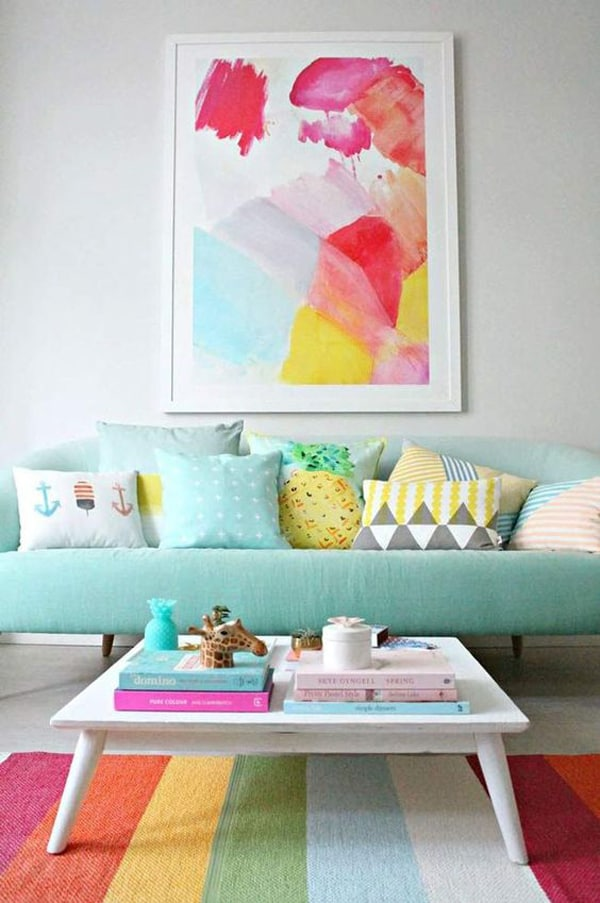 rainbow rug in living areas