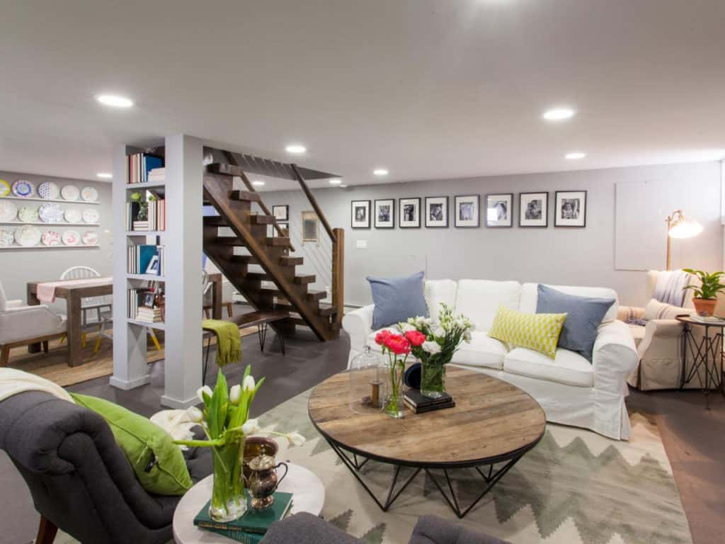 Unfinished Basement Before And After Throughout Delightful