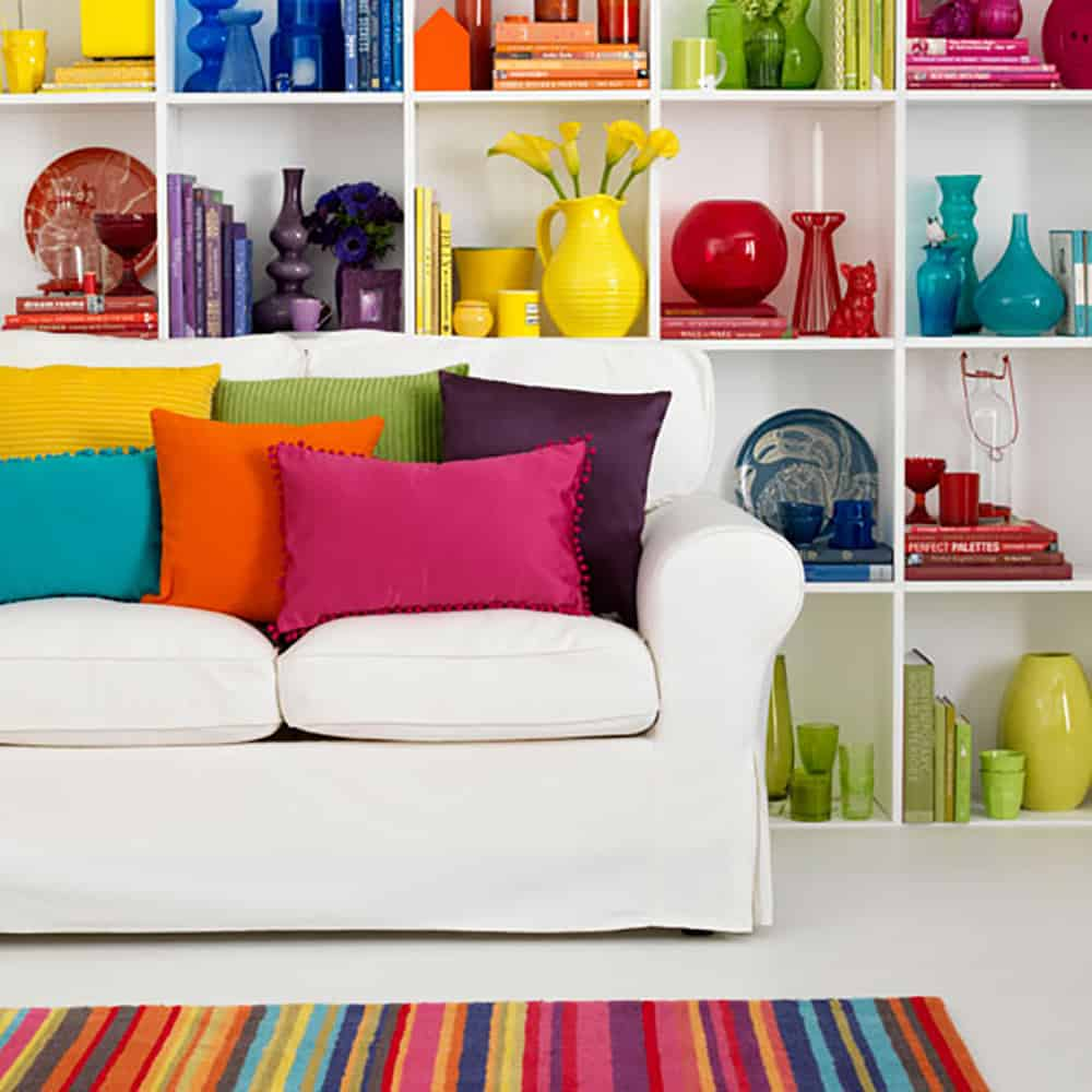 white living room rainbow accents