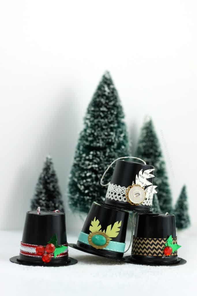 11. Learn How to Create These Amazing Recycled K-Cup Snowman Hat Ornaments