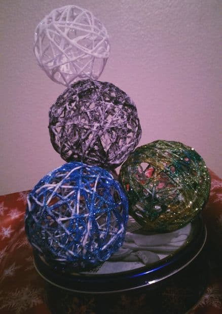 13. Make Glittery String Ball Ornaments for Your Christmas Tree