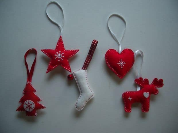 14. Learn How to Make These Cute Scandinavian-Style Felt Christmas Tree Decorations