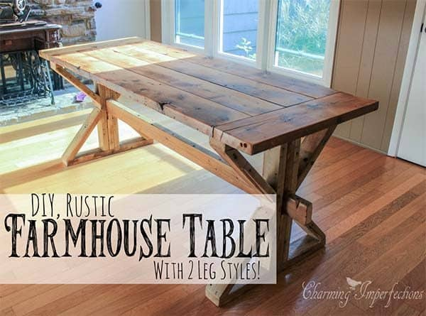 53 free diy farmhouse table plans for a rustic dinning room for Rustic dining room table plans