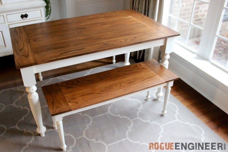 ELEGANT OAK FARMHOUSE TABLE