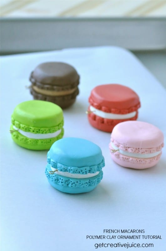18. Make Colorful French Macaroon Ornaments with Polymer Clay