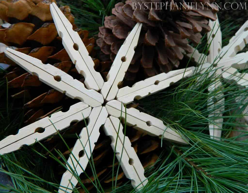 19. Simple Yet Elegant Clothespin Snowflakes