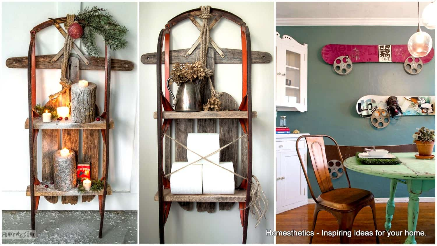 19 Winter Home Decorations Re Purposing Sleighs Skis Snowboards
