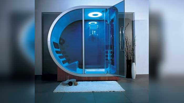 THE FUTURISTIC SHOWER ENCLOSURE WITH A COMFORTABLE SEAT