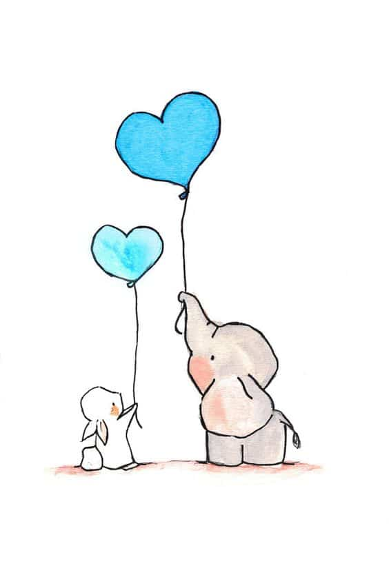 6. AN ELEPHANT AND A RABBIT FLYING BALLOON HEARTS