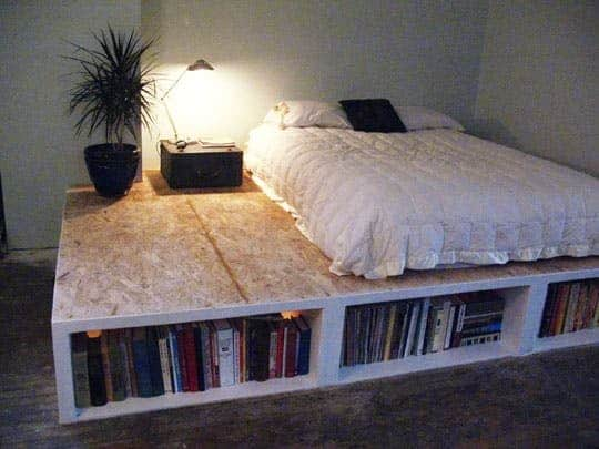 DIY PLATFORM BED WITH SHELVES