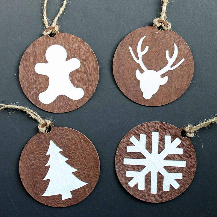 23. Classy and Minimalist Wood Grain Faux Leather Ornaments