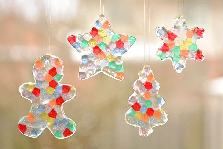 25. Decorate Your Christmas Tree with These Colorful Melted Bead Ornaments