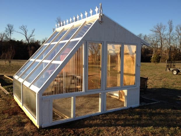 BEAUTIFUL BACKYARD GREENHOUSE MADE FROM RECLAIMED WINDOWS