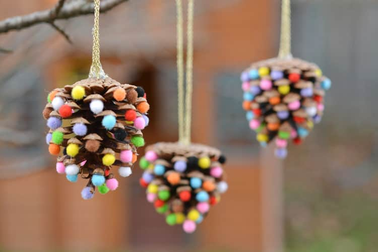 28. Pom-Poms and Pinecones Christmas Ornaments