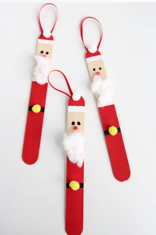 32. Decorate Your Christmas Tree With These Cool Popsicle Stick Santas