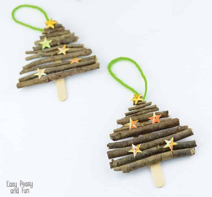 38. Learn How to Make Rustic Christmas Tree Ornaments using Popsicle Sticks and Twigs