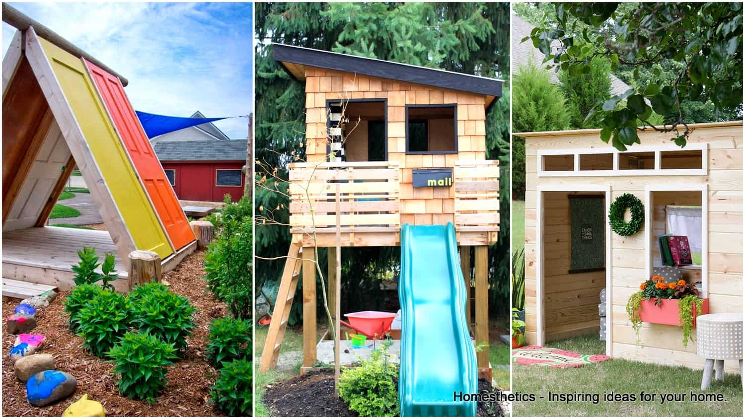 43 free diy playhouse plans that children parents alike for Wooden playhouse designs