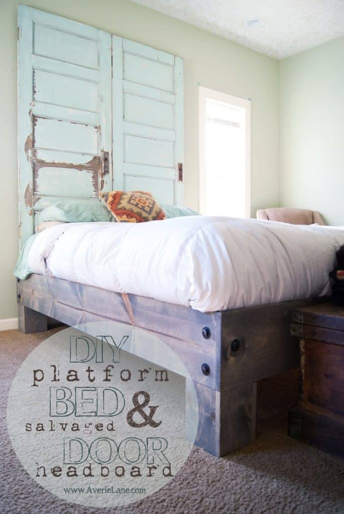 DIY PLATFORM BED AND SALVAGED DOOR HEADBOARD